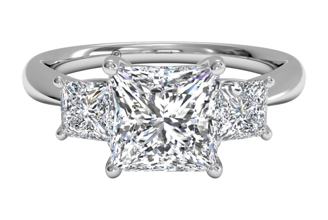 Ritani Three-Stone Princess Cut Diamond Engagement Ring