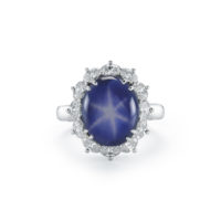 10 Carat Natural Star Sapphire and Diamond Ring in Platinum Halo Oval Diamonds Marshall Pierce & Company Chicago Fine Jewelry