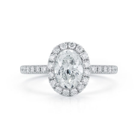 Oval-Cut Diamond Micro-Pavé Halo Engagement Ring From 1.00 Carats