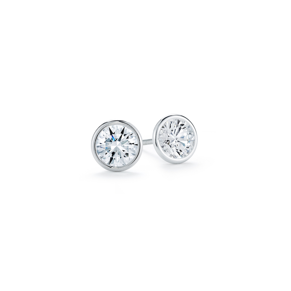 0 39 Carat Round Brilliant Cut Diamond Bezel Set Stud Earrings In White Gold