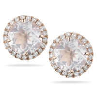 Dana Rebecca Anna Beth Pink Quartz & Diamond Stud Earrings - E258