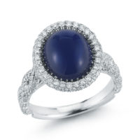 JB Star Sapphire Cabochon and Diamond Ring