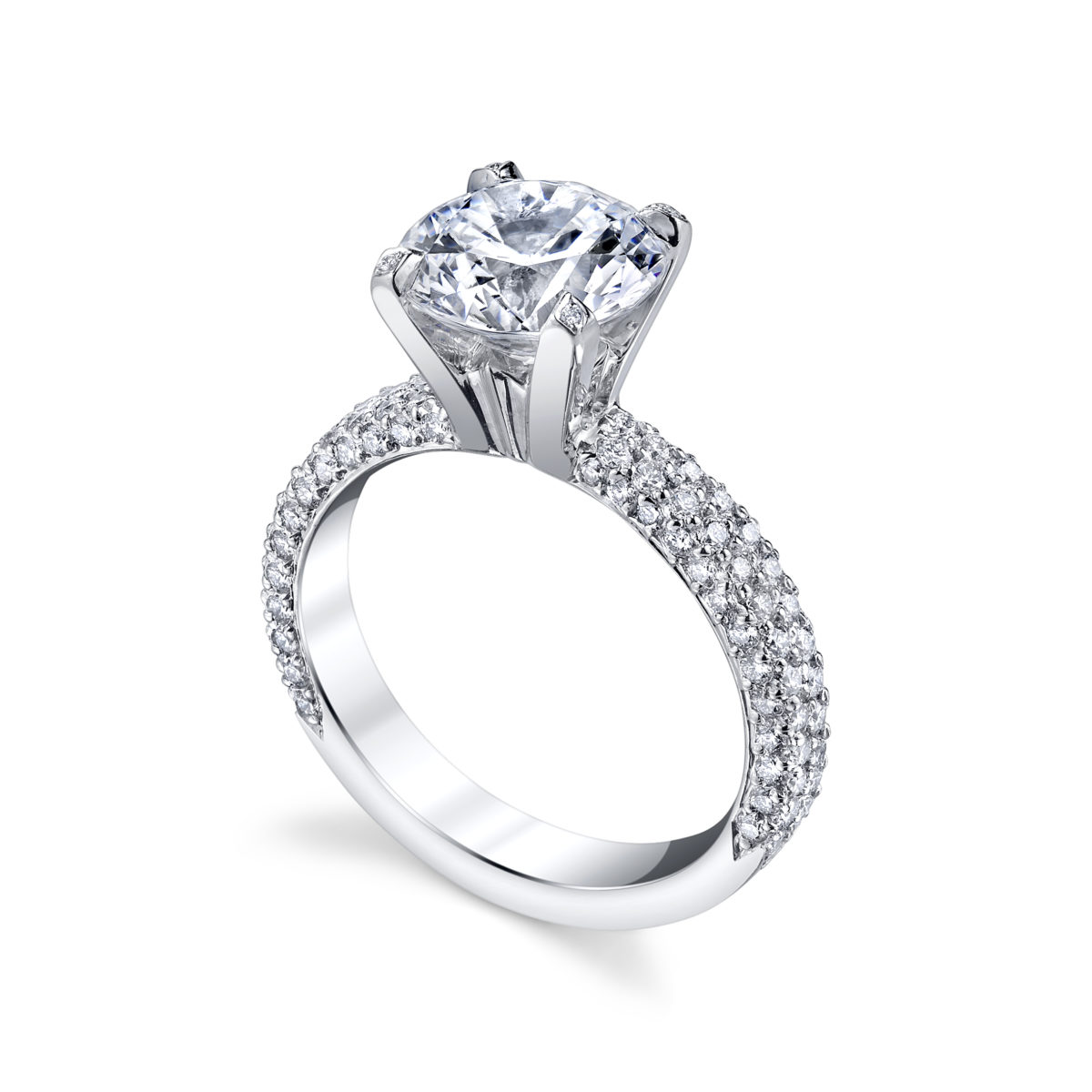 michael b two row flat band engagement ring