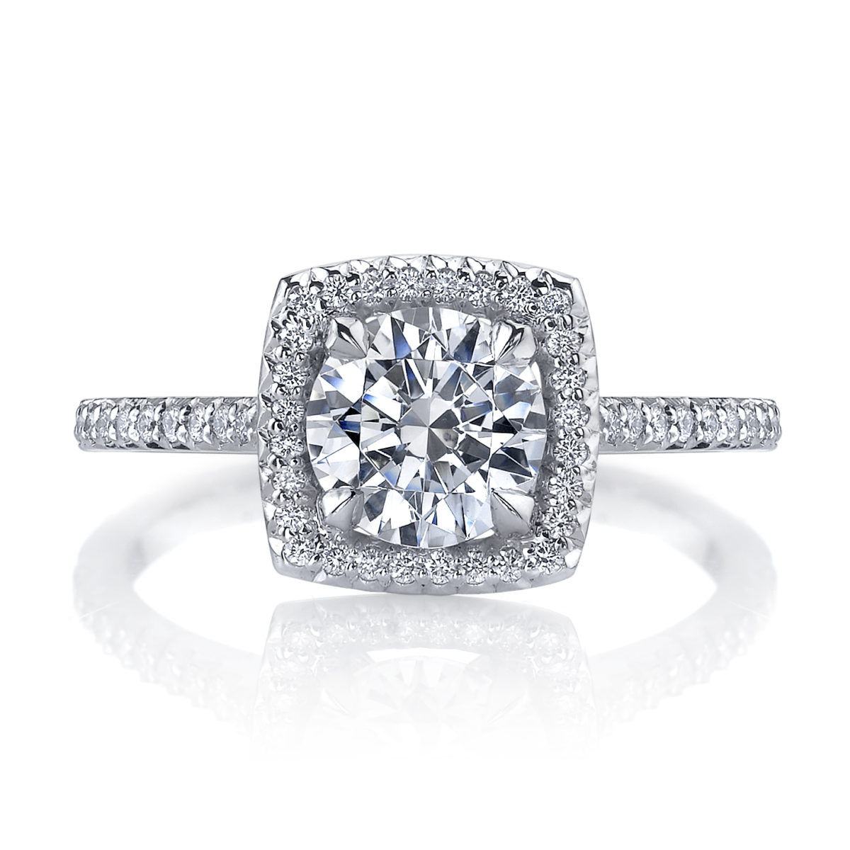 Michael B Royal Cushion Trois Engagement Ring