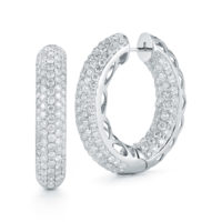 Large Pave set Diamond Inside-Out Pave Earrings