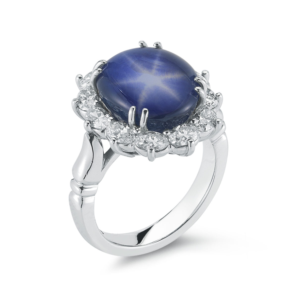 Well-liked 10.60 Carat Star Sapphire & Diamond Ring | Marshall Pierce  ET06