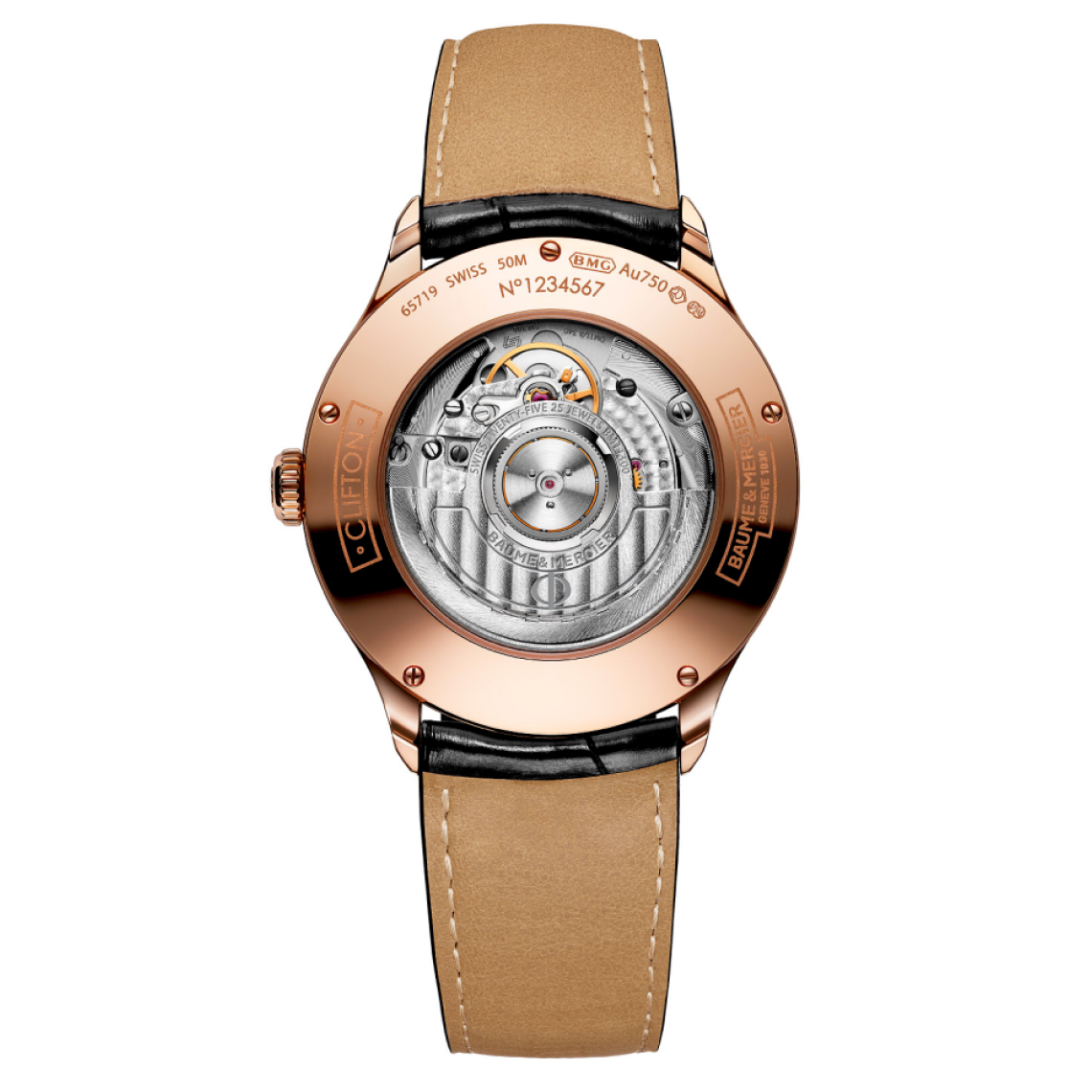 Baume et Mercier Clifton Automatic in Rose Gold Case Back 10158