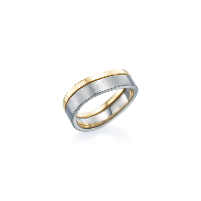Furrer Jacot Curved Two Tone Mens Wedding Band