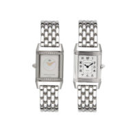 Jaeger le Coultre Pre Owned Ladies Stainless Steel Reverso Duo Mother of Pearl Diamonds