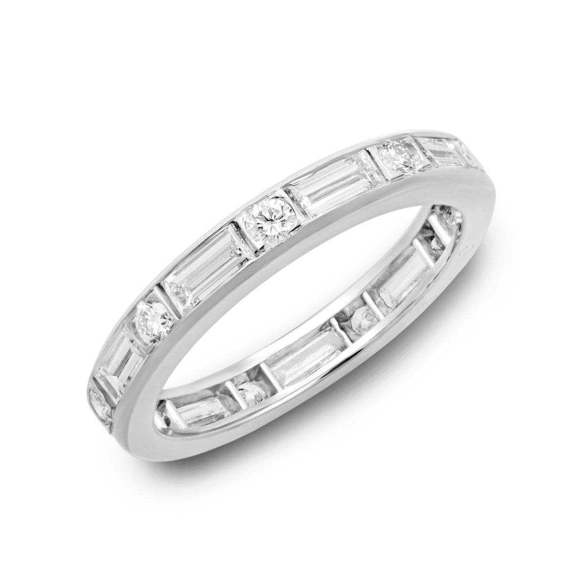 oscar heyman round emerald cut diamond eternity band - Emerald Cut Wedding Ring