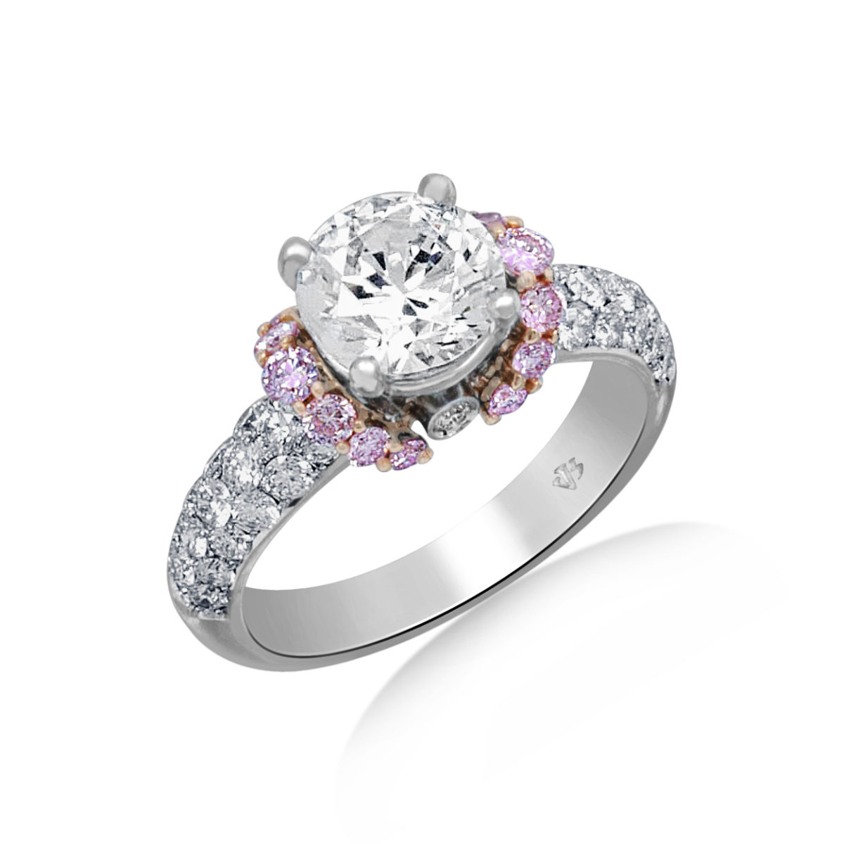Jack kelege diamond engagement ring with pink diamond for Dimond wedding ring