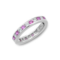 Oscar Heyman Pink Sapphire & Diamond Eternity Band - Estate 1