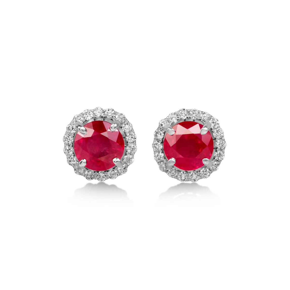 1 99 Carat Round Cut Ruby Diamond Halo Stud Earrings