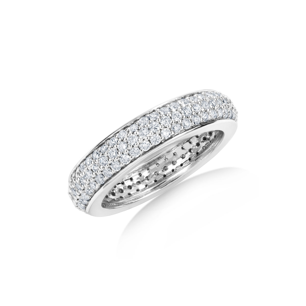 wedding gold white petite diamond tw bands band pave in forevermark