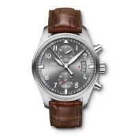 IWC Spitfire Chronograph IW387802 Brown Strap Ardoise Dial