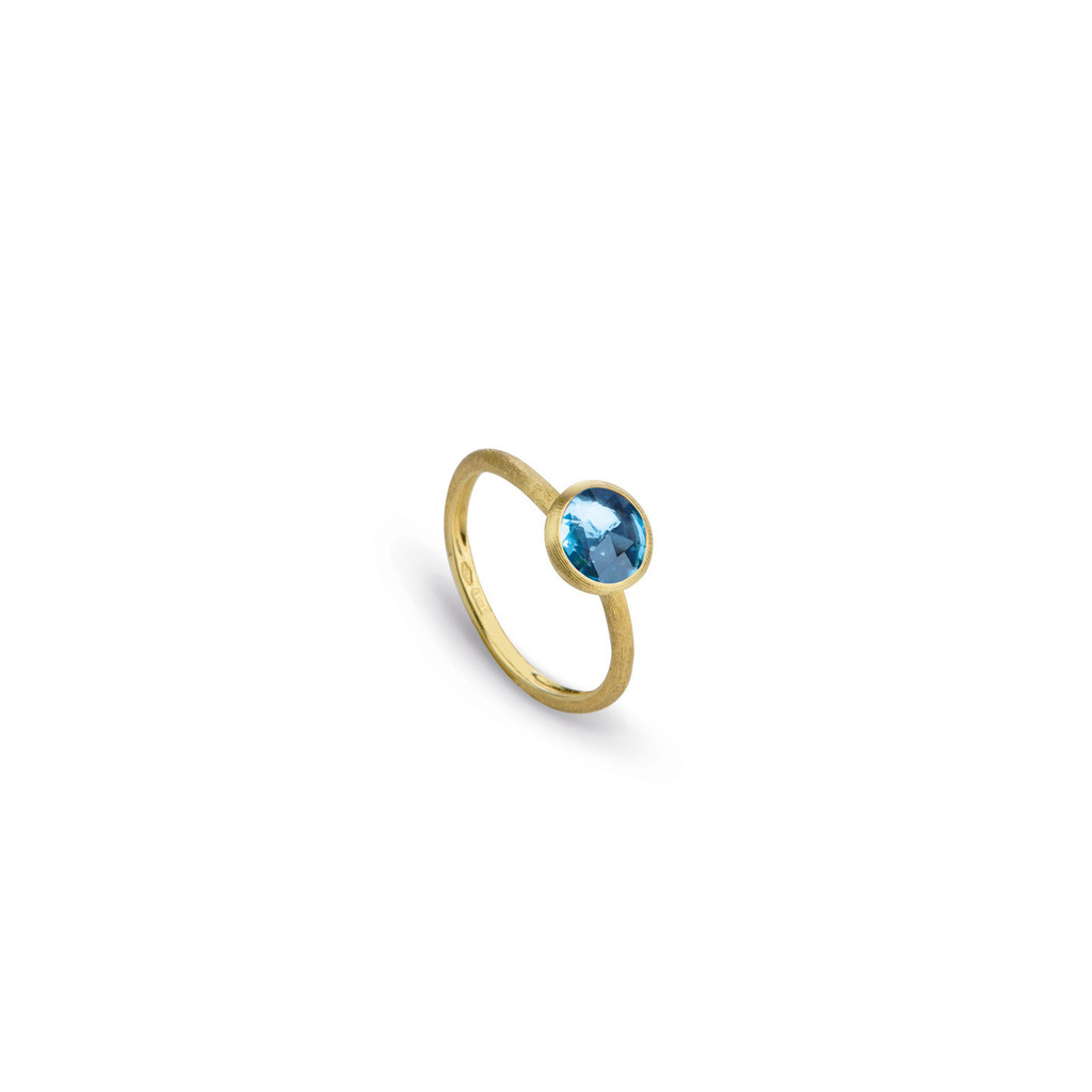 "Marco Bicego ""Jaipur"" Yellow Gold Rose Cut Cushion Blue Topaz Stackable Ring"