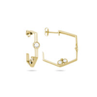 "AMT ""Chicago Classic"" Diamond Hoop Earrings in Yellow Gold – Medium Model"