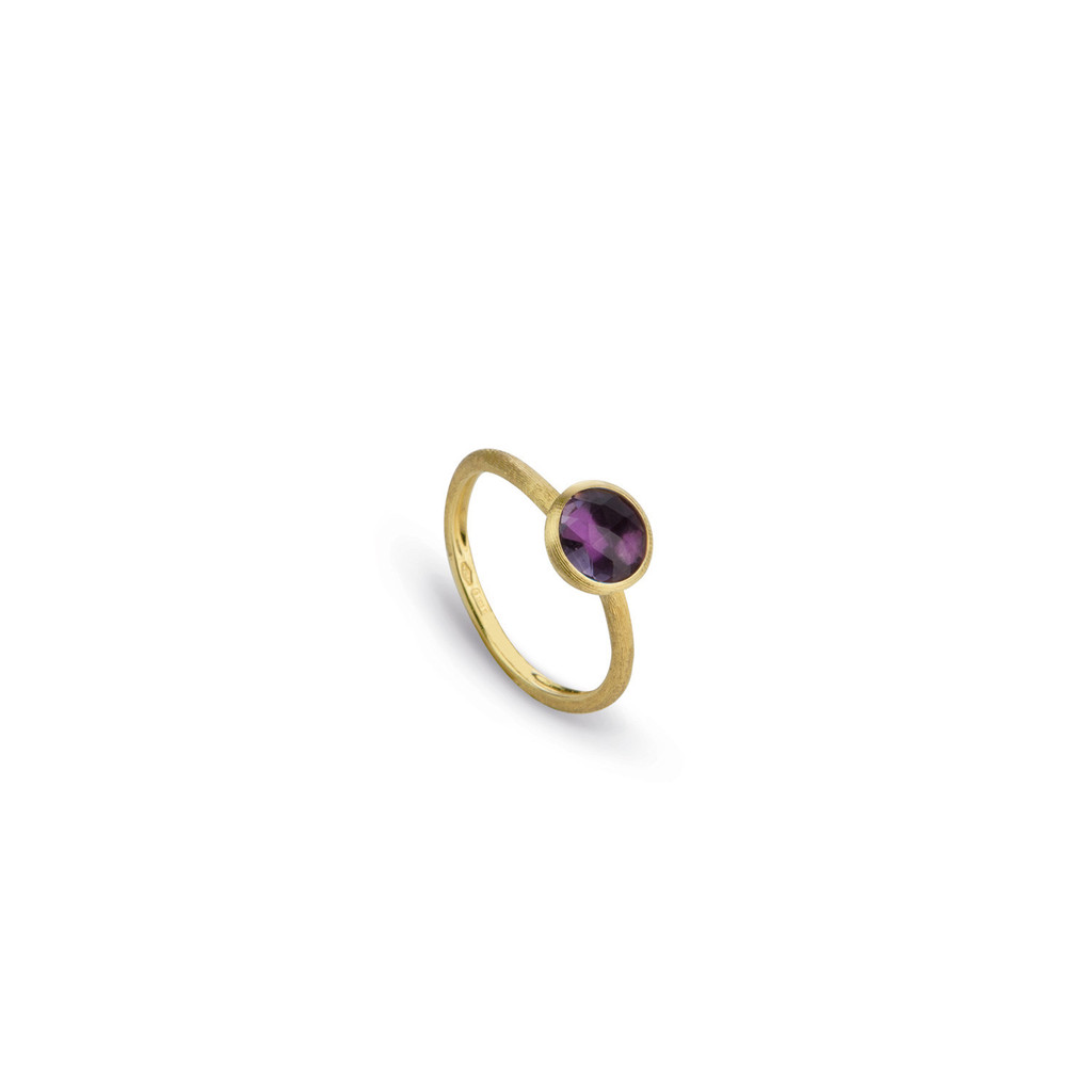 "Marco Bicego ""Jaipur"" Yellow Gold Rose Cut Cushion Amethyst Stackable Ring"