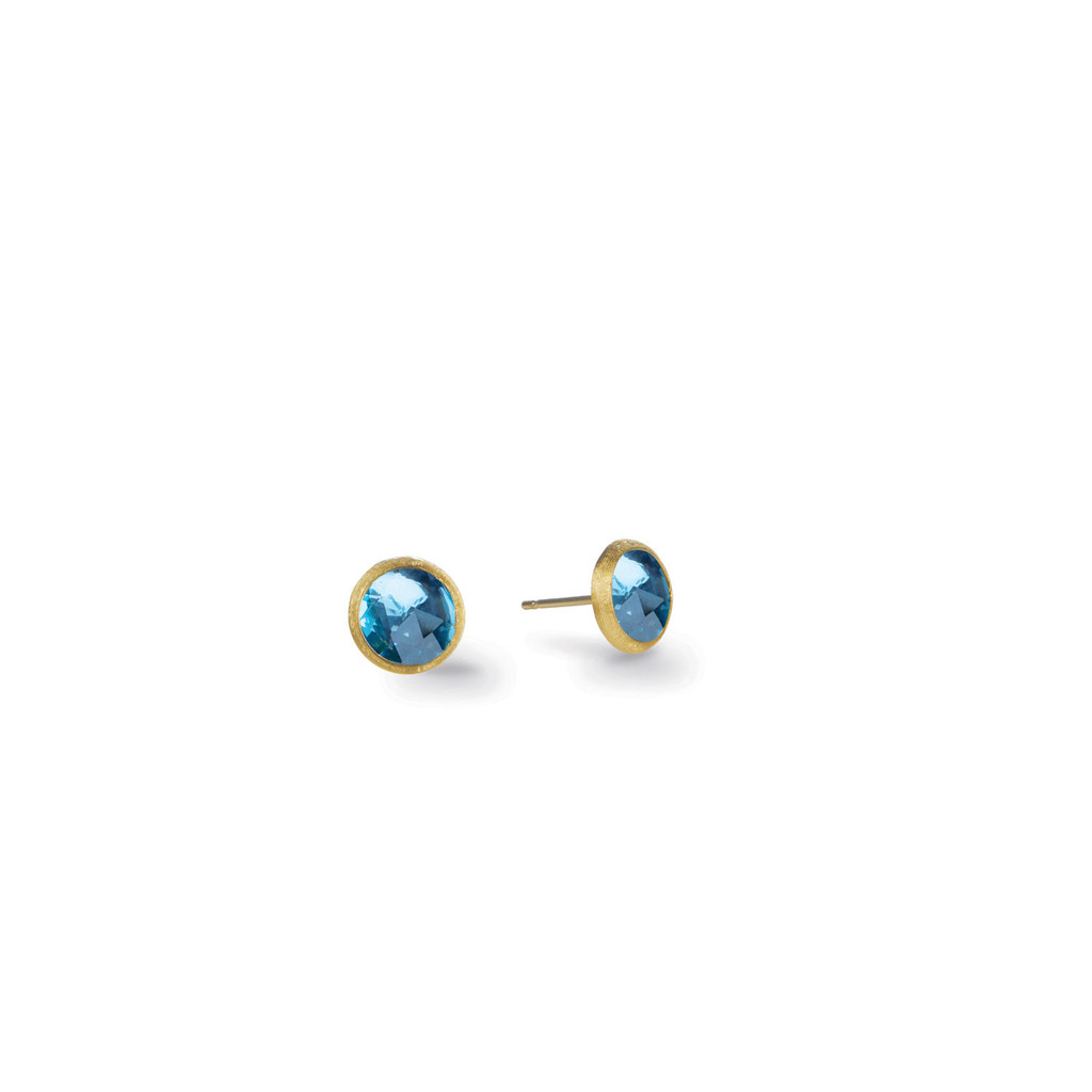 "Marco Bicego ""Jaipur"" Yellow Gold Blue Topaz Petite Stud Earrings"