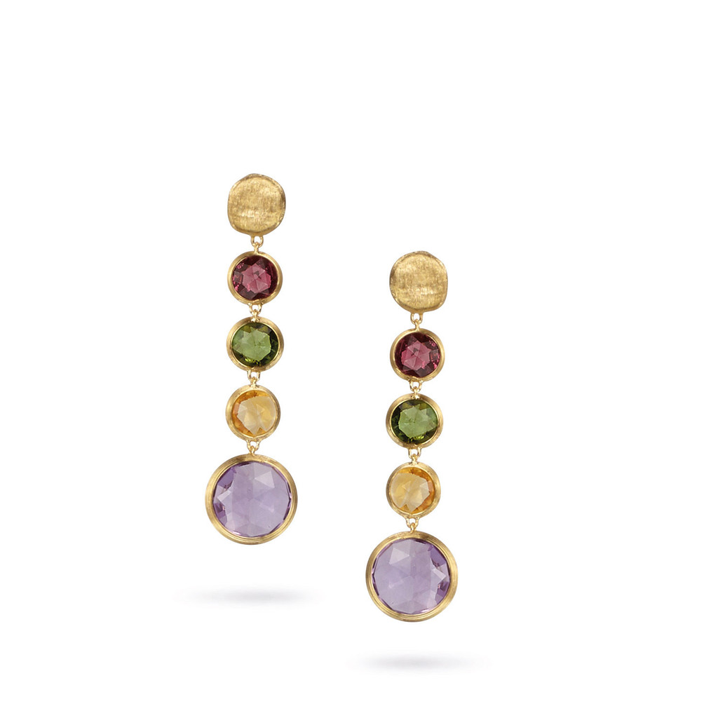 "Marco Bicego ""Jaipur"" Yellow Gold Circle Mixed Gemstones Drop Earrings"