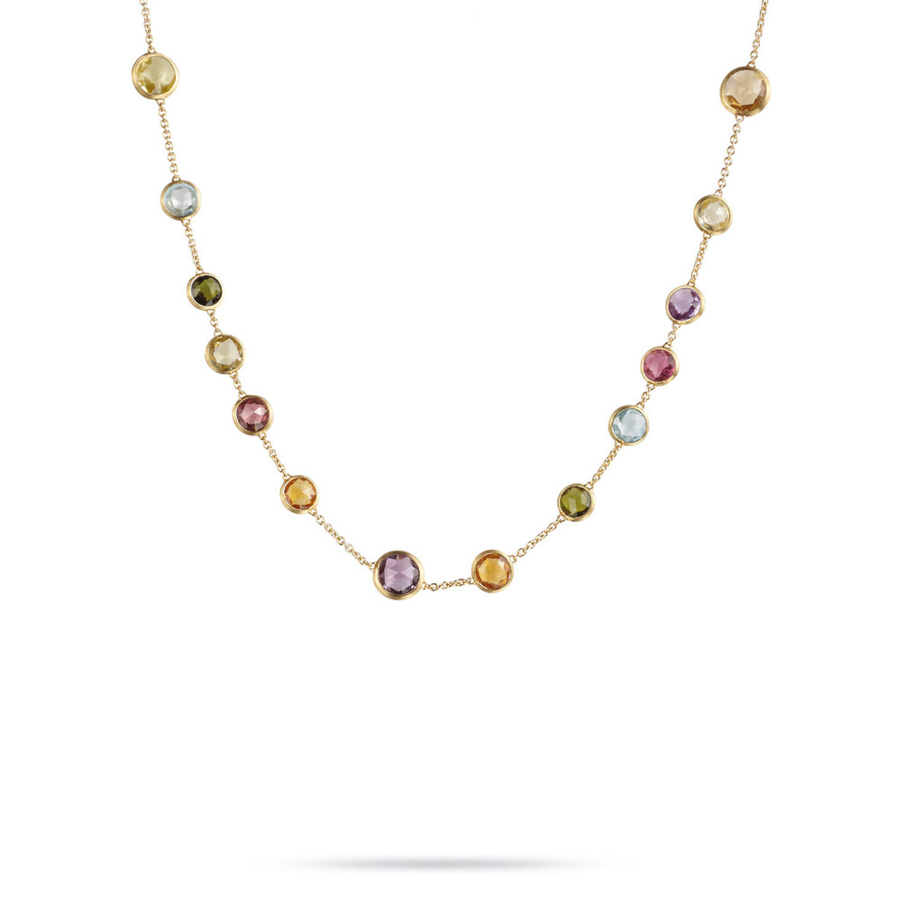 "Marco Bicego ""Jaipur"" Yellow Gold Circle Mixed Gemstones Small Bead Necklace"