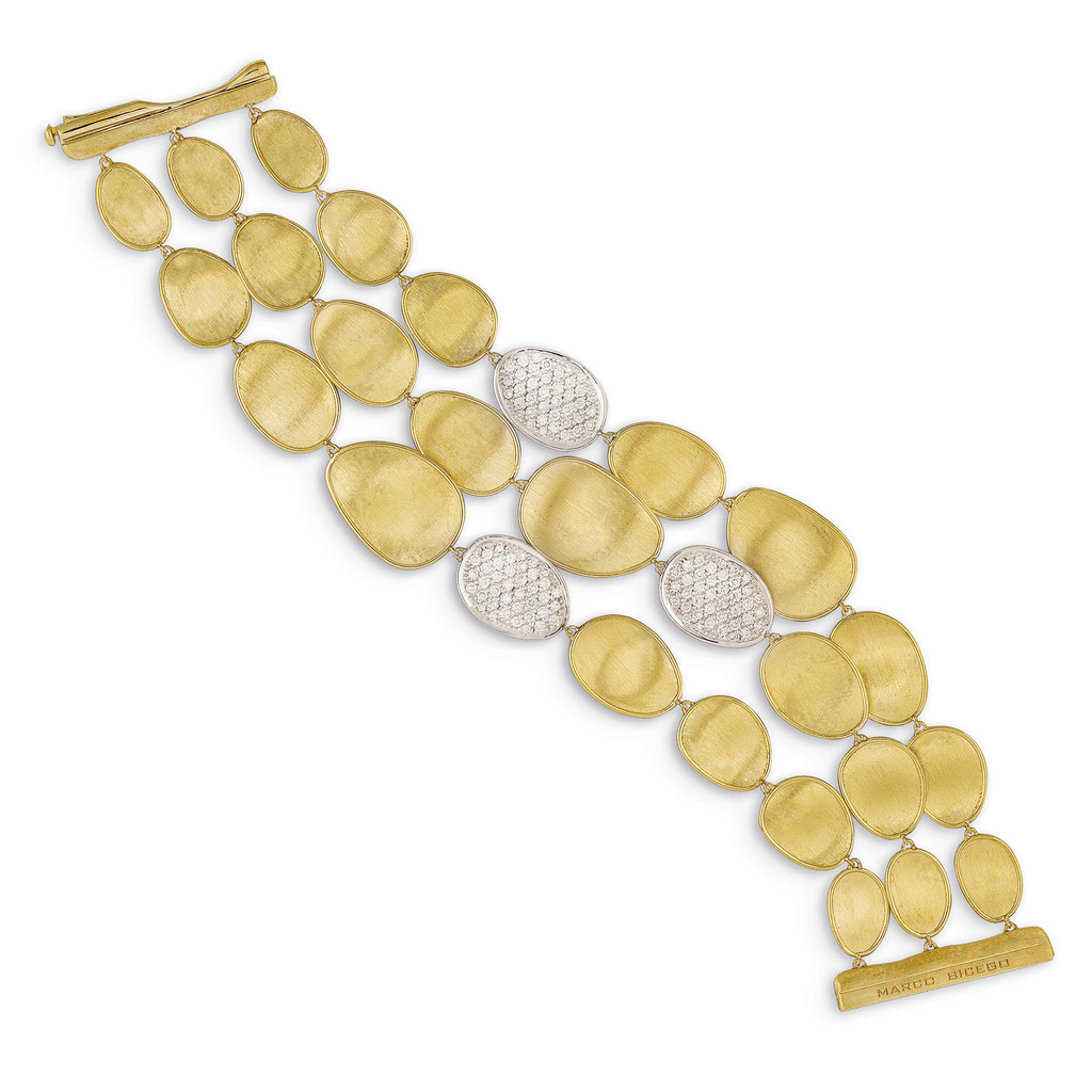 "Marco Bicego ""Lunaria"" Yellow Gold & Diamond Pave Three Strand Bracelet"
