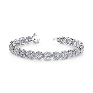 12.48 Carat Round & Cushion Cut Diamond Bracelet