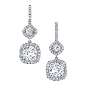4.07 Carat Round Diamond Drop Earrings