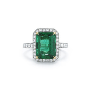 3.85 Carat Emerald-Cut Emerald & Diamond Halo Ring