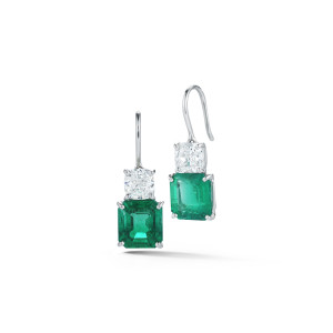 Oscar Heyman Emerald & Diamond Drop Earrings