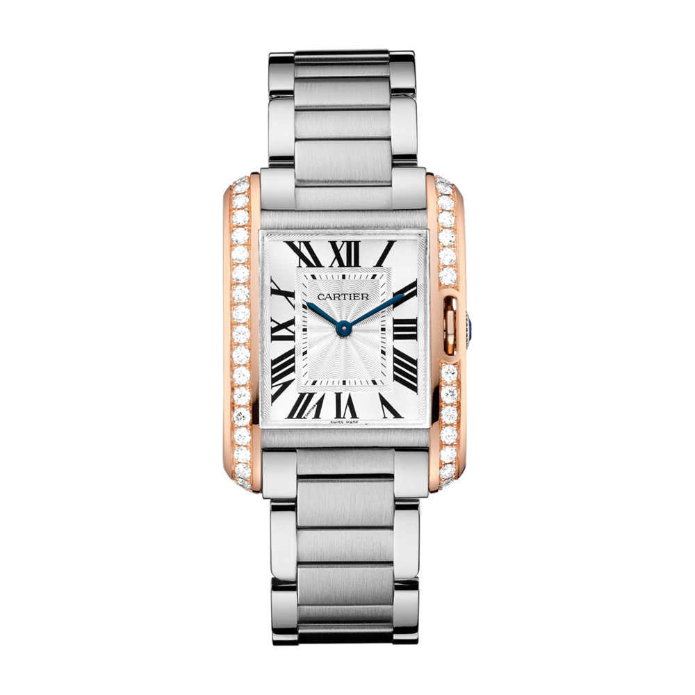 W3TA0003 Cartier Tank Anglaise Steel Gold Diamonds Authorized Dealer Chicago Marshall Pierce & Company