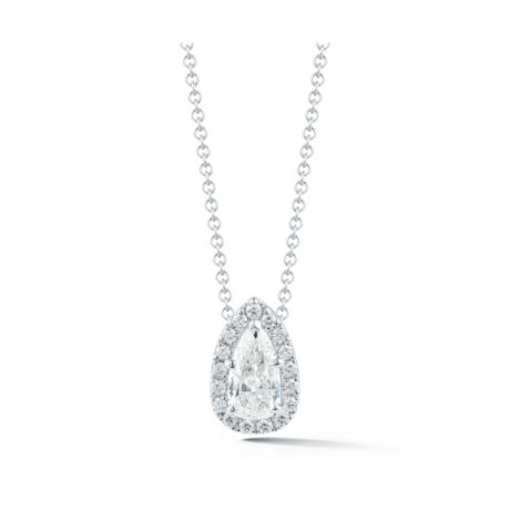 1.32 Carat Pear Shape DIamond Halo Pendant in White Gold Marshall Pierce & Company Chicago