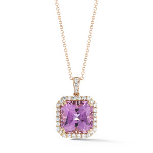 15.07 Carat Kunzite Halo Pendant in Rose Gold