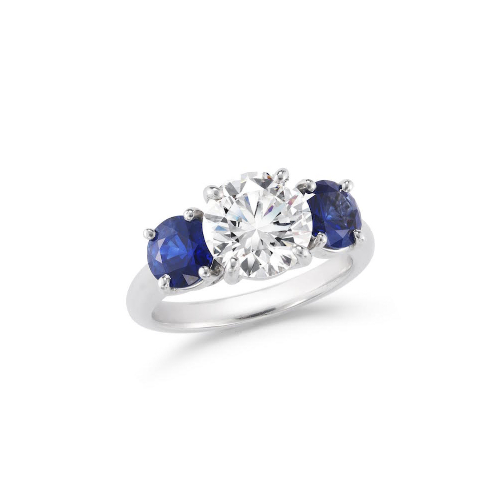 2.03 Carat Round Brilliant-Cut Diamond & Sapphire Three-Stone Engagement Ring