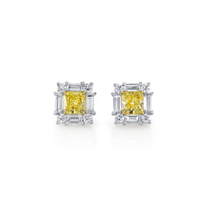 2.37 Carat Radiant-Cut Fancy Yellow Diamond Stud Earrings