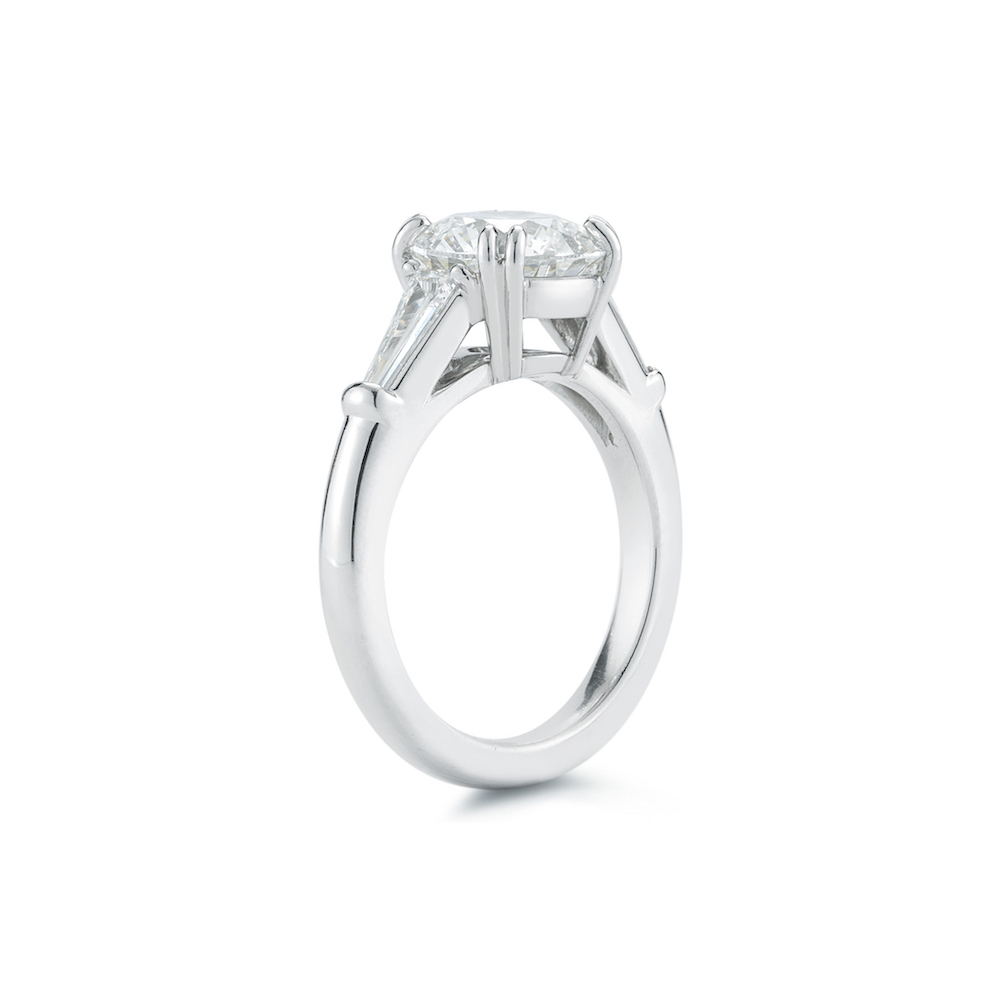 2.82 Carat Round Brilliant Cut Three Stone Engagment Ring with Tapered Baguette Side Stones in Platinum by Marshall Pierce & Company Chicago