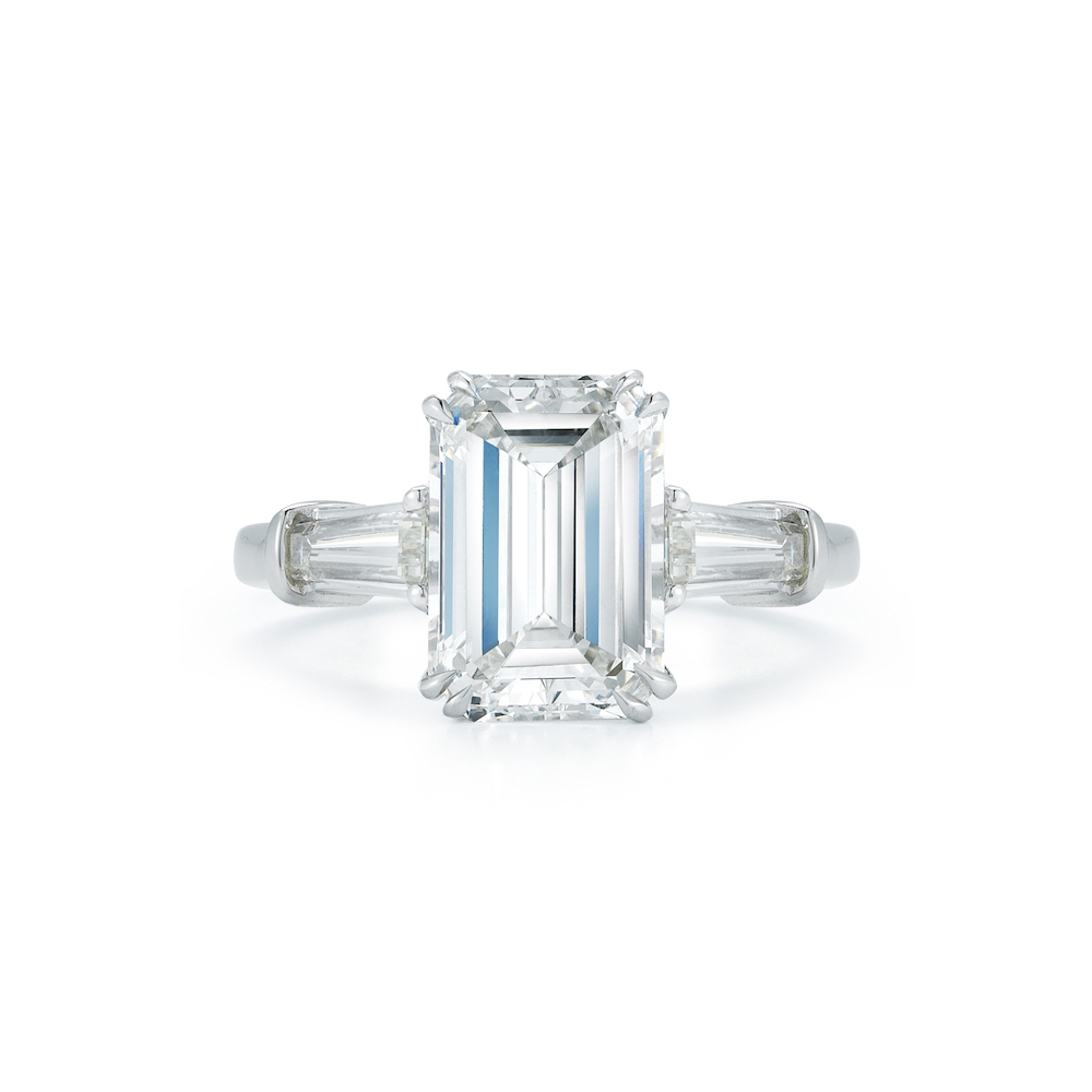 stones in pierce marshall ring by bag three cut engagement company product platinum stone emerald carat tapered diamond side