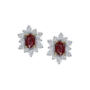 3.45 Carat Oval-Cut Ruby & Diamond Earrings