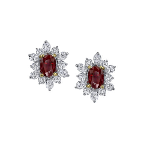 3.45 Carat Oval Ruby & Diamond Earrings in Platinum & Yellow Gold Marshall Pierce & Company Chicago