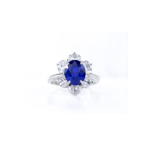 3.49 Carat Oval-Cut Sapphire & Diamond Halo Ring