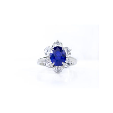3.49 Carat Oval-Cut Sapphire & Diamond Halo Ring Marshall Pierce & Company Chicago