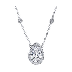 3.76 Carat Pear-Shape Diamond Halo Pendant
