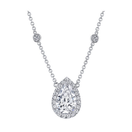 3.76 Carat Pear-Shape Diamond Halo Pendant in White Gold by Marshall Pierce & Company Chicago