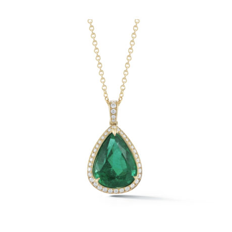 4.27 Carat Pear Shape Emerald & Diamond Halo Pendant in Yellow Gold Marshall Pierce & Company Chicago