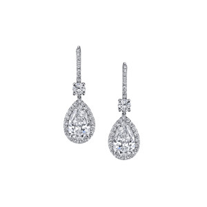5.02 Carat Pear-Shape Diamond Drop Earrings