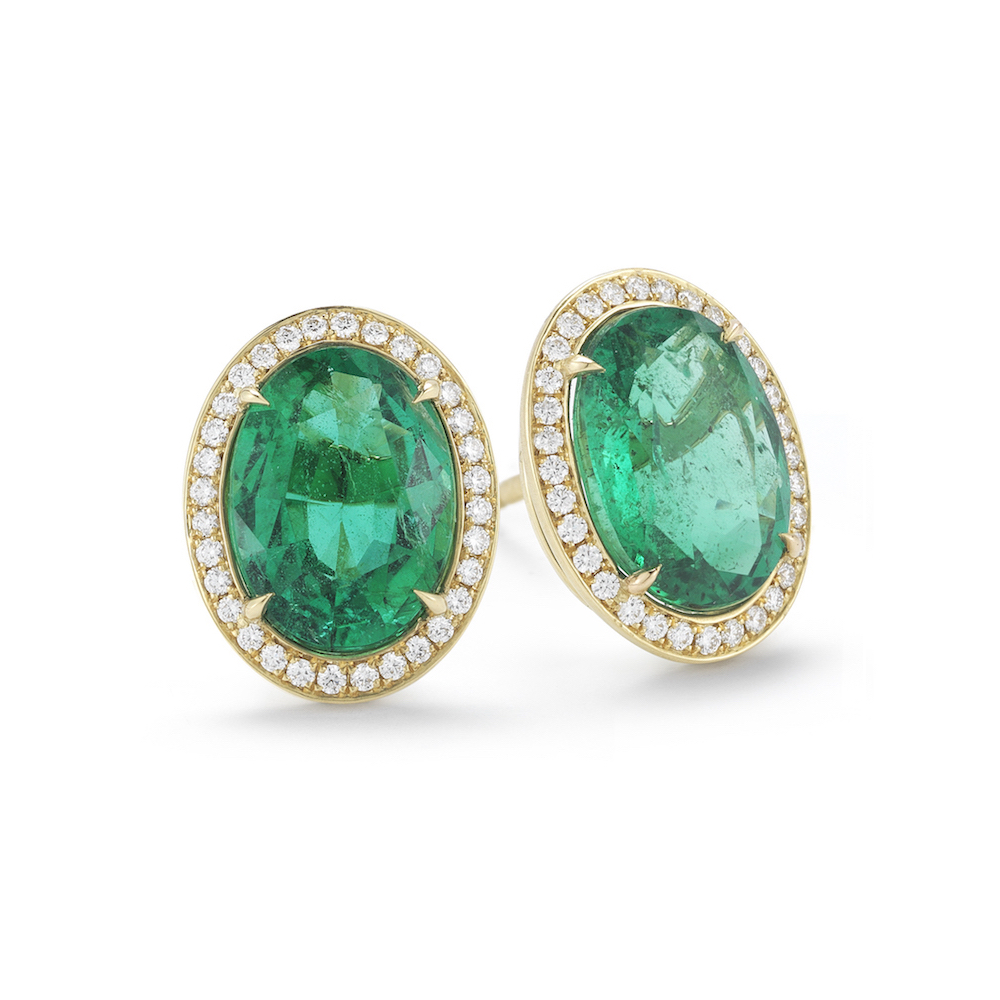 5 93 Carat Oval Emerald And Diamond Stud Earrings In Yellow Gold Marshall Pierce Company Chicago