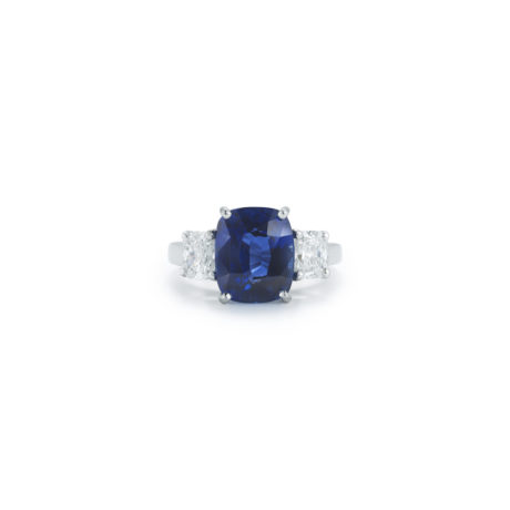 6.04 Carat Sapphire & Diamond Ring in Platinum by Oscar Heyman Marshall Pierce & Company Chicago