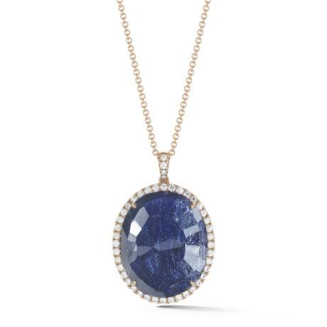 65.97 Carat Sapphire Slice and Diamond Halo Pendant in Rose Gold 30 Inches Marshall Pierce & Company Chicago