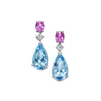 Oscar Heyman Aquamarine Diamond and Pink Sapphire Drop Earrings in Platinum Marshall Pierce & Company Chicago