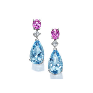 14.33 Carat Pear-Shape Aquamarine & Pink Sapphire Drop Earrings